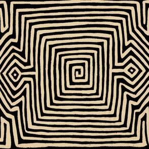 Kuna Indian Tribal Turtle Wallpaper  - Straw Black