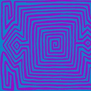 Kuna Indian Tribal Turtle Wallpaper - Teal Violet