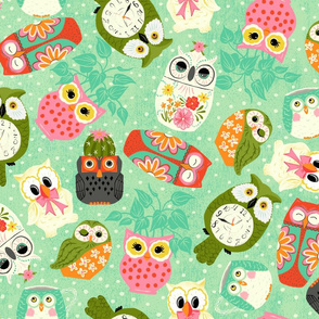 Vintage Kitsch Owls  Green, Pink, Orange