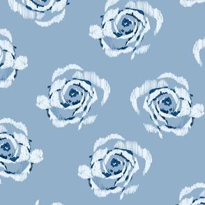 Chambray ikat roses