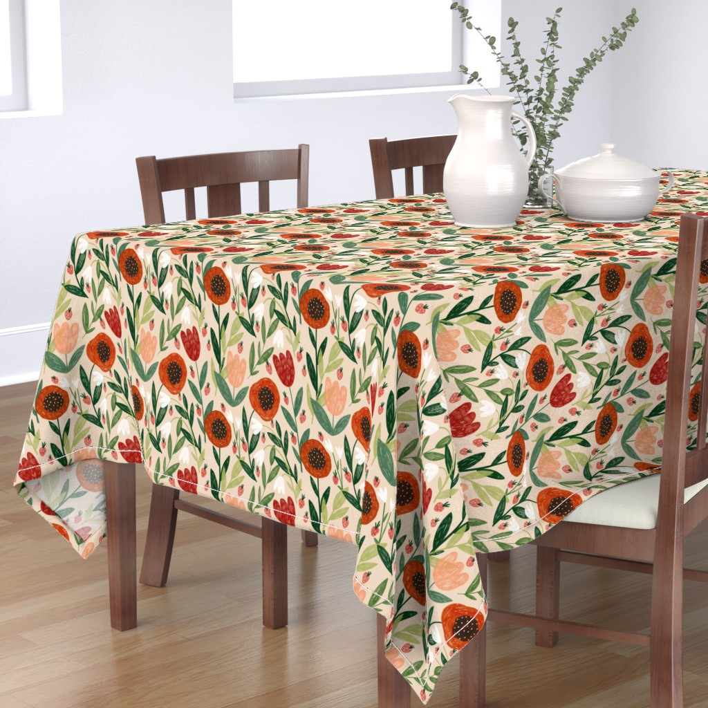 Bantam Rectangular Tablecloth featuring poppy spring by meadowswild