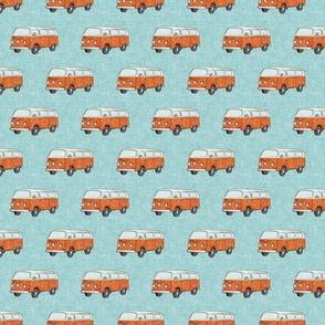 (small scale) Retro Camper Bus - vintage car - orange on blue - LAD20BS