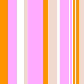 Pink Orange White Stripes