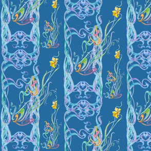 Watercolor Scrolls with Daffodils on Classic Blue
