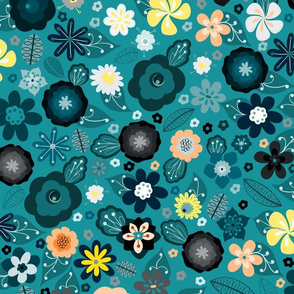 Kitsch 70s Flowers-Classic Blue and Yellow