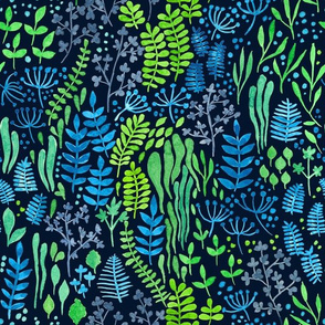 Watercolor floral doodles dark background