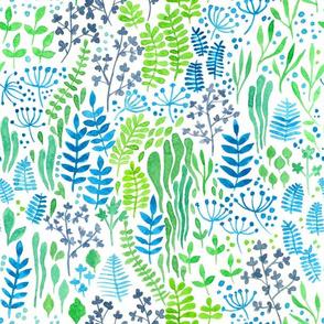 Watercolor floral doodles white