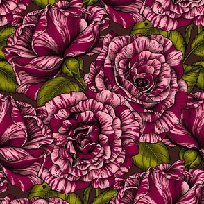 Bi color roses, pink and dark red, seamless vector pattern