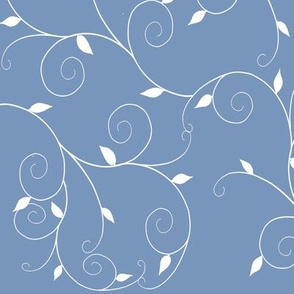 Curly Vines Leaves-Denim