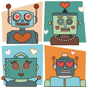 retro robots in love