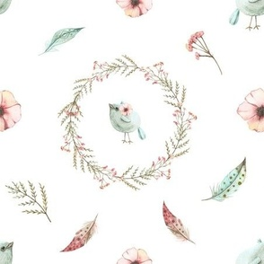 Spring pattern with blue birds, twigs, pink anemones