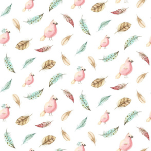 Spring pattern with pink birds, blue and brown feathers.