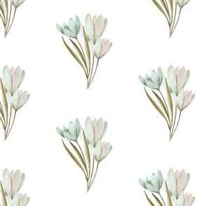 Spring pattern with blue tulips