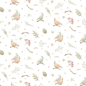 Spring pattern with forest pink and blue birds, viburnum berries, twigs, foliage. Delicate pattern for baby fabrics, for women's dresses, for bedding.