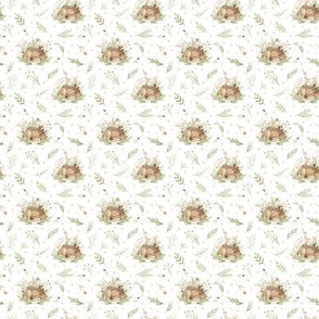 Spring pattern with forest deers, wildflowers, berries, viburnum berries, twigs, foliage. Delicate pattern for baby fabrics, for women's dresses, for bedding.