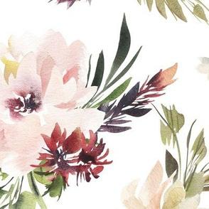 Floral pattern pink delicate watercolor peonies, blue berries, burgundy flowers