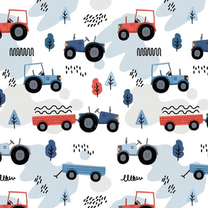 Doodle tractor - blue red - big