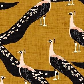 peacock oh so regal - gold linen texture
