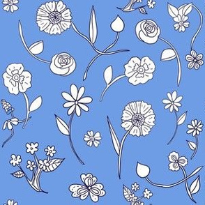 Hand-Drawn Flowers French Blue