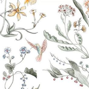 Victorian Painted Garden watercolor damask