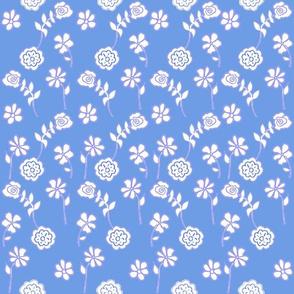 Floral Waves in Light Blue