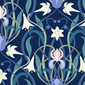 Art Nouveau lilies XL 24 inch midnight blue by Pippa Shaw