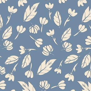 Peony Garden - Cream Flowers On Denim