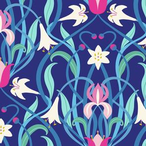 Art Nouveau lilies XL 24 inch royal blue fuchsia by Pippa Shaw