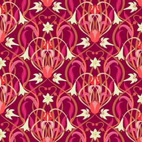 Art Nouveau lilies 12 inch burgundy by Pippa Shaw