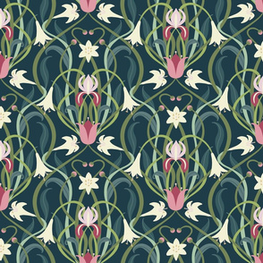 Art Nouveau lilies 12 inch forest green by Pippa Shaw