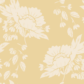 Peony Garden - Cream with Gold