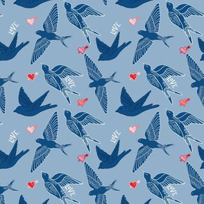 valentines swallows with hearts