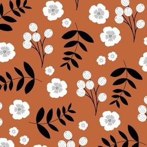 Flowers and leaves jungle garden paradise island boho vibes flowers and palm leaf print rust copper brown