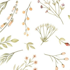 Watercolor delicate pattern of forest flowers, berries, twigs.