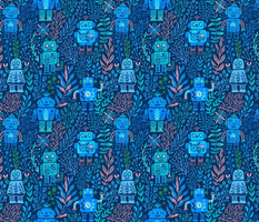 Retro robots toys vintage kitsch design. Summer floral flowers, leaves and berries. Green and blue colors.