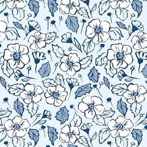 Floral Blue Calico