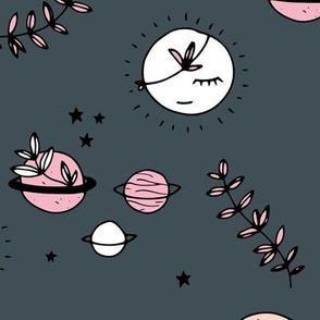 Little boho moon and stars jungle universe kawaii planets style kids pink gray night