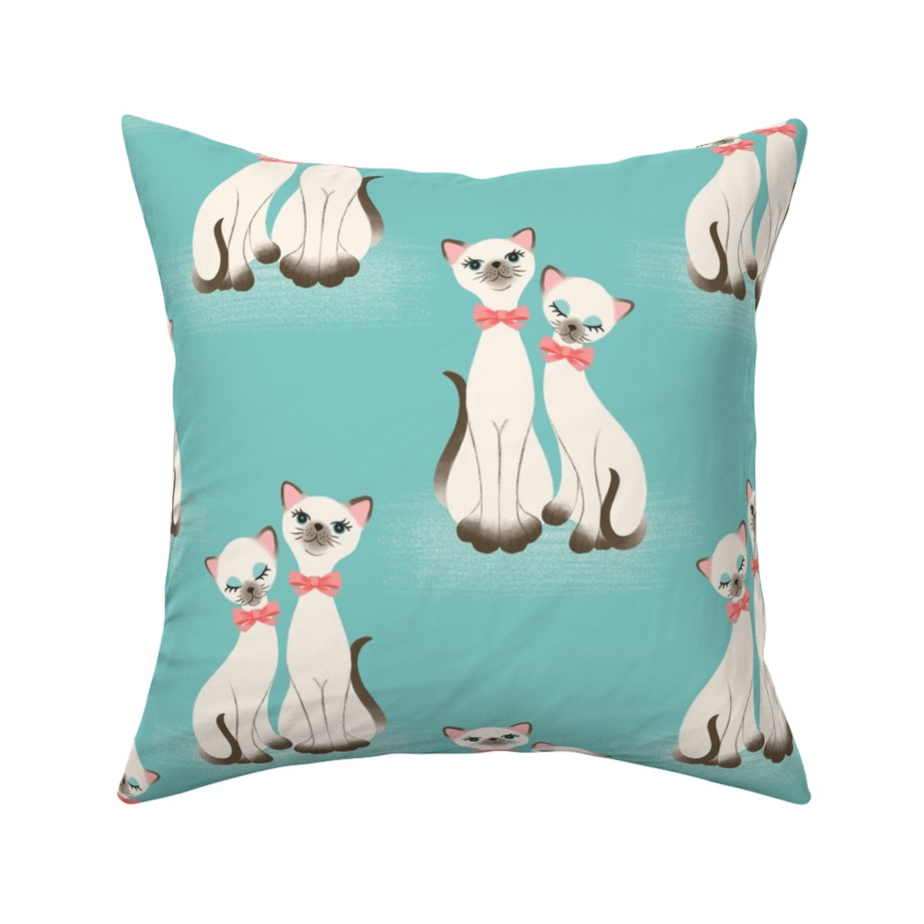 Catalan Throw Pillow featuring Kitsch Kitties - Aqua by heather_anderson
