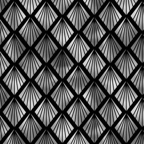 Palm Fans in Black and Silver Vintage Faux Foil Art Deco Vintage Foil Pattern