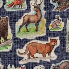 Vintage Woodland Wildlife Animals Kitschy Barkcloth