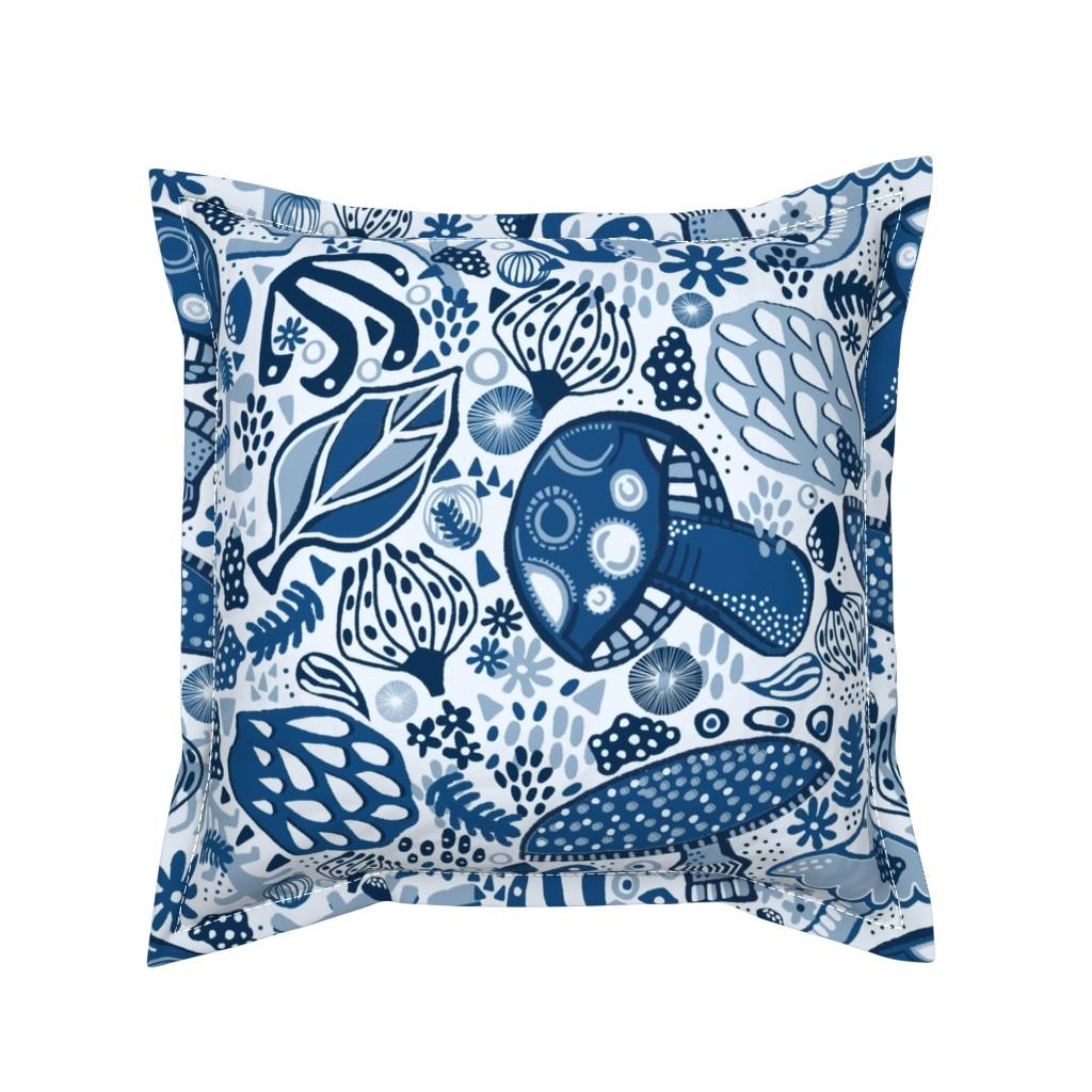 Serama Throw Pillow featuring Blue Forest Flora by slumbermonkey