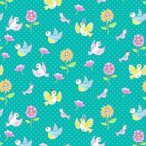 chubby  birds and happy flowers