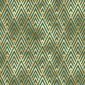 Teal and Gold Vintage Art Deco Chevron Pattern