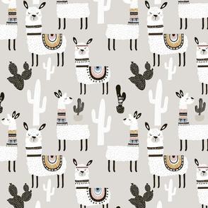 Llamas in Desert ~ Gray