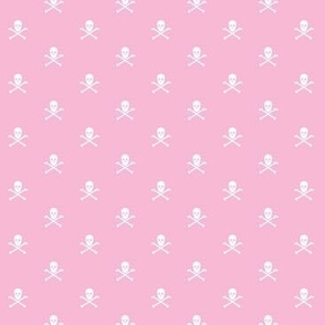 white skull and crossbones on pink