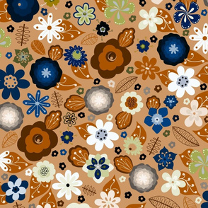 Kitsch 70s Flowers-Classic Blue and Brown