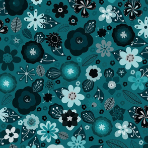 Kitsch 70s Flowers-Classic Blue
