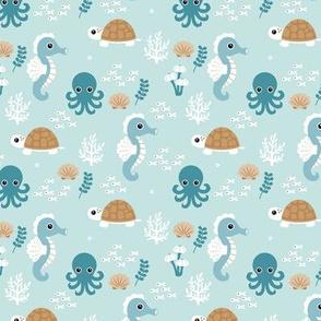 Deep sea coral reef friends ocean fish turtle sea horses and squid kids print blue cinnamon boys SMALL
