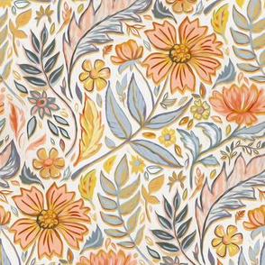 Golden and Grey Art Nouveau Floral small