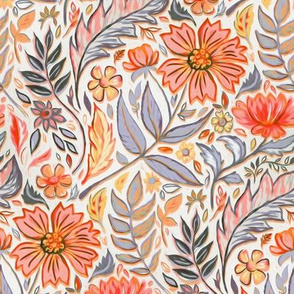 Coral Pink, Red and Lilac Art Nouveau Floral small